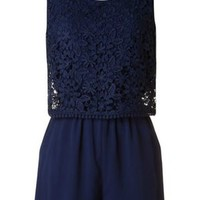 Lace Overlay Tiered Romper