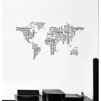 Vinyl Wall Decal World Map Thank You Words Cloud Office Space Room Art Stickers Mural (ig5454)