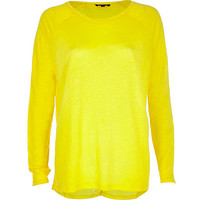 Yellow linen split back top