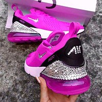 Bunchsun Nike Air Max 270 Fashion Women Semi-Cushioned Jogging Shoes Running Sneakers Rose Red