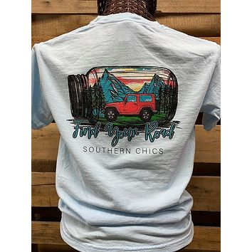 Southern Chics Apparel Find Your Road Mason Jar Jeep Comfort Colors Bright T Shirt