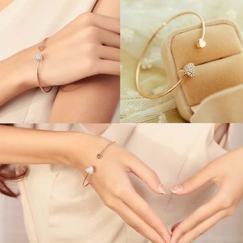 Women Trendy Jewelry Double Peach Heart Love Crystal Opening Bracelet Gift