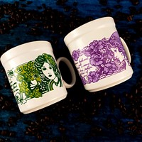 Staffordshire Potteries Hippy Girl Flower Poem Coffee Mug Cup Ivy Roses 1976