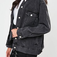Missguided - Black Oversized Denim Jacket
