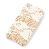 Gold Glitter and Ivory Floral Lace Cover for iPhone 5 and 5s