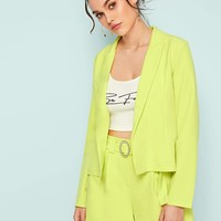 Neon Lime Coat With Belted Ring Shorts