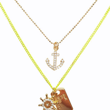 Nautical Layered Dog Tag Necklace - Neon Yellow