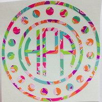 Yeti Decal - Big Little Sorority - Lilly Pulitzer Inspired Monogram Decals - Circle Dot Monogram - Lilly Monogram