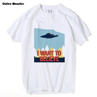 Jenni's Prints X-Files T Shirt Men I Want To Believe T-shirt 2017 Summer Short Sleeve Cotton X Files Tees Clothing 3XL
