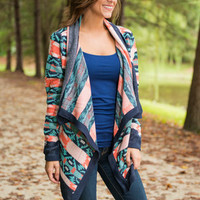Aztec It Out Now Cardigan, Navy