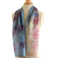 Naturally dyed indigo silk scarf, eco printed with elderberries and marigold, blue with purple and yellow print