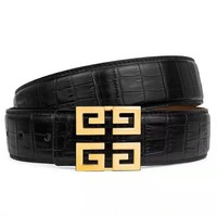 Givenchy crocodile retro personality smooth buckle belt