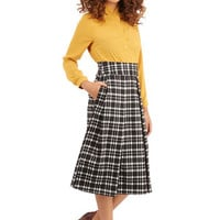 ModCloth 90s, Vintage Inspired, Scholastic Long A-line Crisscross the Map Skirt