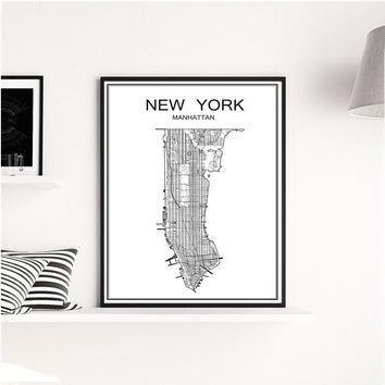 White World City Map of NEW YORK Vintage Poster for House Decor Bar Pub Cafe Bedroom Retro Print Painting Wall Sticker free ship