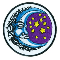 Sleeping Moon and Stars Patch Iron on Applique Alternative Wicca Clothing