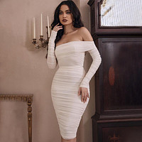 Sexy Bodycon Long Sleeve Strapless Ruffle Party Dress