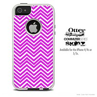 The Hot Pink & White Sharp Chevron Skin For The iPhone 4-4s or 5-5s Otterbox Commuter Case
