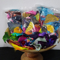 Hand Painted Silk Scrap Grab Bag, Quilting Supplies, Mixed Media Supplies, Collaging Supplies. Scrap Booking