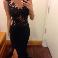 Homecoming Dress,Sheath Black Lace Straps Long Prom Dress
