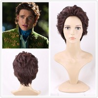 2015 Film Cinderella Cosplay Wig Prince Richard Madden Men Short Curly Synthetic Hair for Adult Role Play