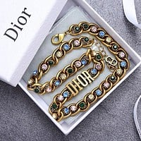 Dior Fashion Women Retro Colorful Diamond Necklace Jewelry