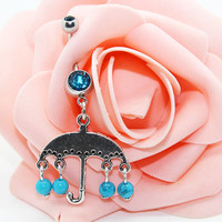Belly button ring,Umbrella belly ring,Body piercing,Friendship belly ring