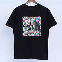 The North Face Summer New Fashion Floral Print Women Men Top T-Shirt Black