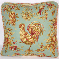 """Aqua Rooster Throw Pillow Waverly Rendezvous Teal Saison de Printemps Swept Away Paisley Reversible 18"""" Square  Cover & Insert Ready to Ship"""