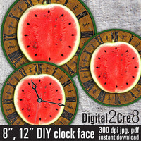 "Watermelon style Large Clock Face - 12"" and 8"" Digital Downloads - DIY - Printable Image - Iron On Transfer - Wall Decor - Crafts - jpg+pdf"