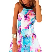 Jenny Trinh Women Summer Floral Sleeveless Backless Night Club Cocktail Party Dress
