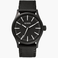 Nixon The Sentry 38 Leather Watch Black/White One Size For Men 25972112501