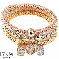 3Pcs In One Classics Bracelets 18K Gold Plated Silver Rose Gold Crystal Square Cubic Rhinestone Bracelet Beauty Elastic Chain Casual Pendant Bangle Jewelry For Women Men  (Color: Multicolor) [9302837386]
