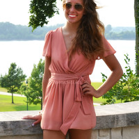 Double Crossed Dusty Pink Romper