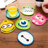 1pcs Cute Anime  Silicone Coffee Placemat Cartoon Drink Coaster Cup Glass Beverage Holder Pad Mat MF76