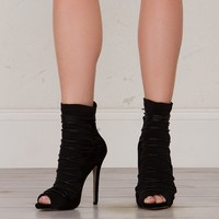Lace Up Peep Toe Booties in Black