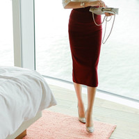High-Waist Midi Pencil Skirt