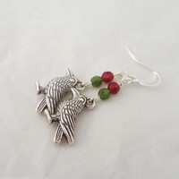 Birds earrings, Crystal Earrings with Birds Charm, Green and Red Earrings
