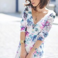 ZARA FLORAL MAXI DRESS 3/4 SLEEVES TIE BACK SIZE S SMALL REF 7521/203