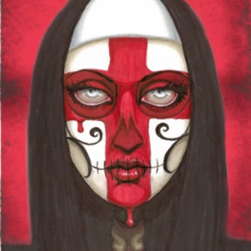 Templar Nun with Red Cross Reverence printed on Aluminum