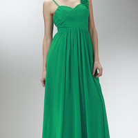 Floor Length Chiffon Dress with Ruched Bodice