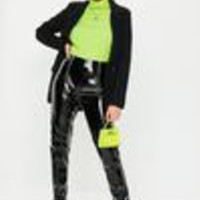 Missguided - Black Faux Leather High Shine Zip Pants
