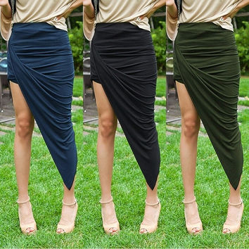 Fashion Women Wrap Banded Waist Draped Asymmetrical Cut Out High low Skirt  SV003059