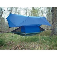 Crazy Crib Lex With Tarp, Gray / Royal Blue, Camp Furniture, Crazy Creek at Sportsman's Guide