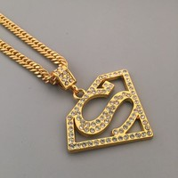 Stylish Jewelry Gift New Arrival Shiny Hot Sale Fashion Hip-hop Club Superman Necklace [6542771587]