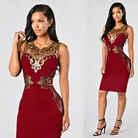 Red Sexy Silm Sequin Bandage Bodycon Women Dress