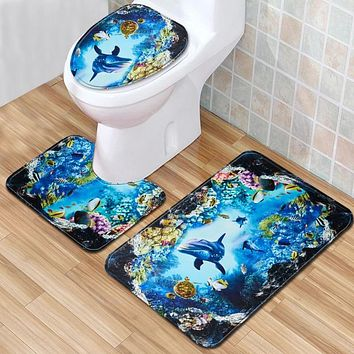 Toilet Accessories Dolphin 3 Piece Bathroom Rug Set 3D Bath Mats Bathmate Antislip Doormat Carpet for Home Decor 45*75cm
