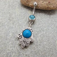 Antique silver hamsa belly button ring , Blue Turquoise belly ring , belly button jewelry