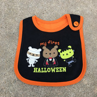My First Halloween Bib, Halloween Outfit, Baby Bib, Baby Boy, Baby Girl, Gift, 1st Halloween, Halloween Bib, Baby Shower Gift, Orange