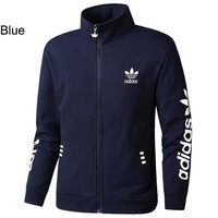 ADIDAS Clover 2018 autumn and winter new casual knit breathable sports jacket blue