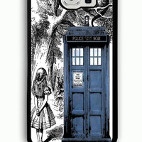 Samsung Galaxy S6 Case - Rubber (TPU) Cover with alice wonderland dr who tardis Rubber case Design